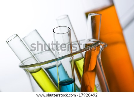 Chemistry laboratory equipment test tubes stock photo