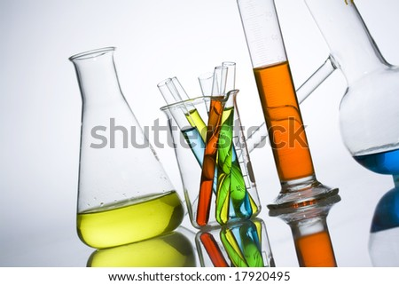Chemistry laboratory equipment test tubes stock photo