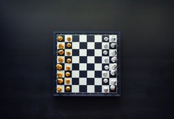 Chess from top view. High angle shot
