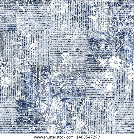 chic grunge checks texture  effect on  floral seamless pattern. Distressed overlay texture design illustration for Print. Fabric, Cloth, Scarf, Wallpaper, Wrapping, t shirt, linens, fashionable print