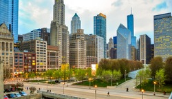 Chicago cityscape with view of Millennium Park during spring