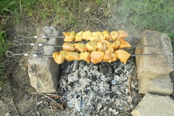 chicken fillet in the form of a kebab on three skewers is fried over an open fire in nature