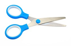 children's colorful scissors on a white background