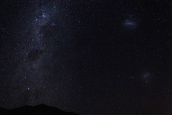 Chile, southern hemisphere milky way and clouds of magallanes