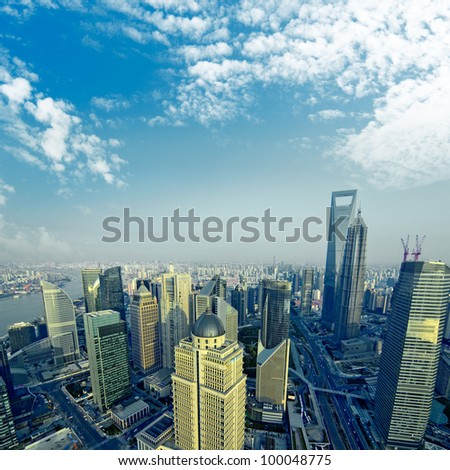 �¢?�¢China Shanghai the huangpu river and Pudong skyline at sunset.