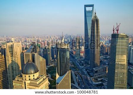 �¢?�¢China Shanghai the huangpu river and Pudong skyline at sunset.