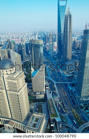 �¢?�¢China Shanghai the huangpu river and Pudong skyline at sunset. - stock photo