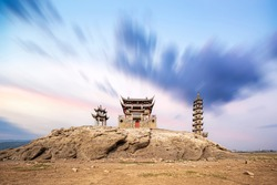 Chinese ancient architecture bridge and gazebo。