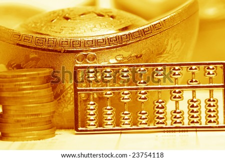 chinese gold ingots and abacus,coin
