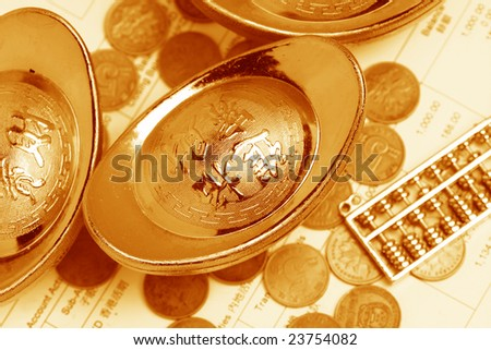 chinese gold ingots and coin