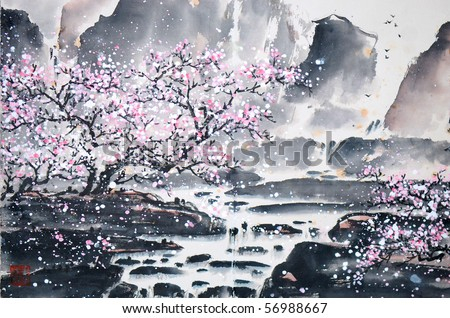 Stock Photo  Chinese landscape painting