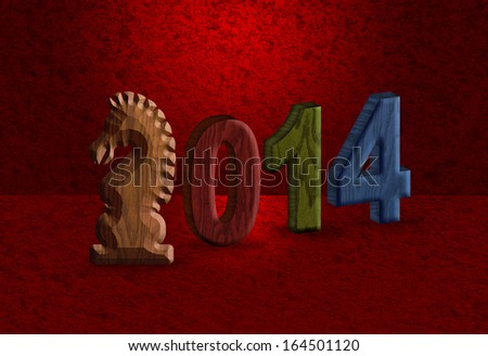 of the Horse 3D Wood Blocks Numerals with Horse Text Symbol on Red ...