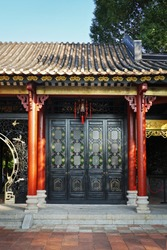Chinese traditional wooden ornamented doors, the sample of Lingnan architectural style.