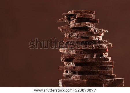 Chocolate bar / chocolate background/ raisin chocolate / chocolate tower #523898899