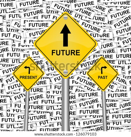3 Choices of Yellow Street Sign Pointing to Future, Present and Past  in Future Label Background