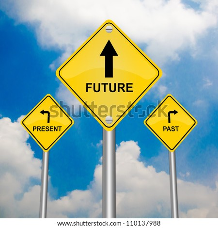 3 Choices of Yellow Street Sign Pointing to Future, Present and Past With Blue Sky Background