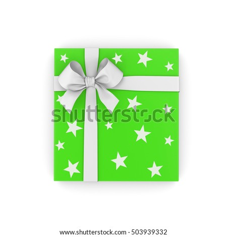 Christmas and  New Year's Day ,close green gift box top view white background 3d rendering #503939332