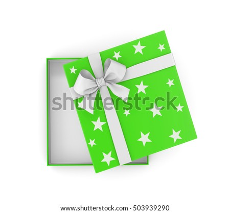 Christmas and  New Year's Day ,Open green gift box top view white background 3d rendering  #503939290