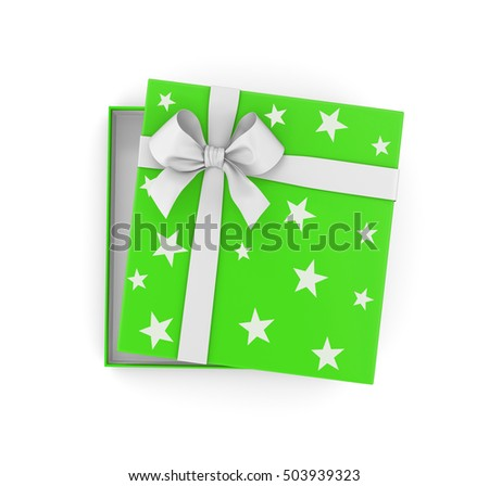 Christmas and  New Year's Day ,Open green gift box top view white background 3d rendering #503939323