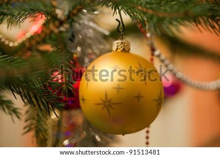 Christmas bauble on christmas tree
