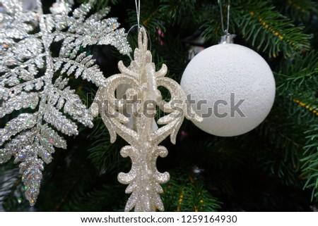 Christmas decoration. Christmas decoration background; Christmas tree and holidays ornament - Image                               #1259164930