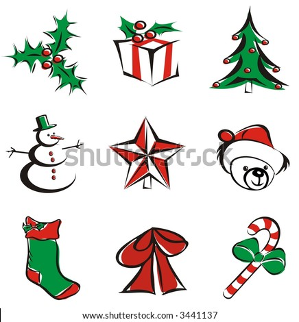 9 christmas decoration items isolated - vector illustration icons
