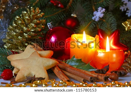Christmas decoration with Christmas balls and candles