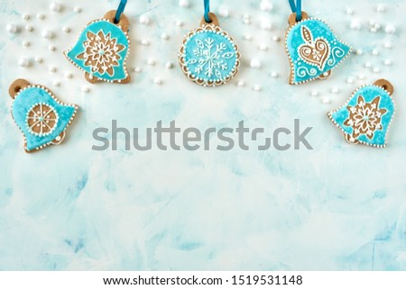 Christmas festive homemade decorated sweets. Christmas holidays ornament flat lay. Christmas card background                               #1519531148