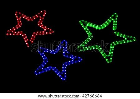 christmas light stars  on a white background