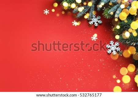 Christmas ornaments on blue background, border design, top view #532765177