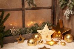 Christmas ornaments on window sill