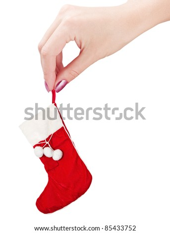 christmas sock in his hand isolated on white background