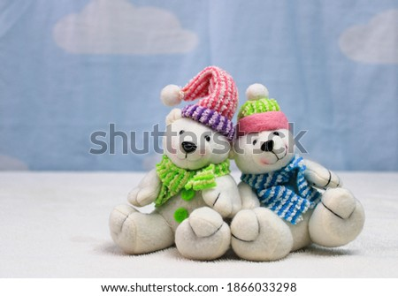 Christmas teddy bears together with blue background Foto stock ©