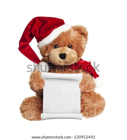 Christmas toy bear with wish list letter to Santa on white background