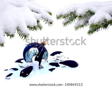 Christmas tree and broken glass bauble on white, failed christmas