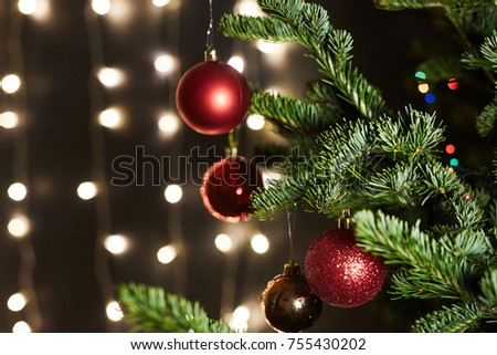 Christmas tree and Christmas decorations. Christmas background - Shutterstock ID 755430202