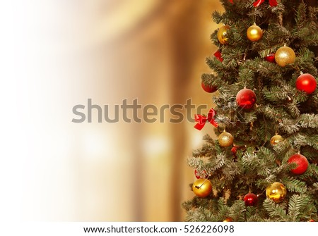 Christmas tree, gifts background. December, winter holiday xmas decoration. #526226098
