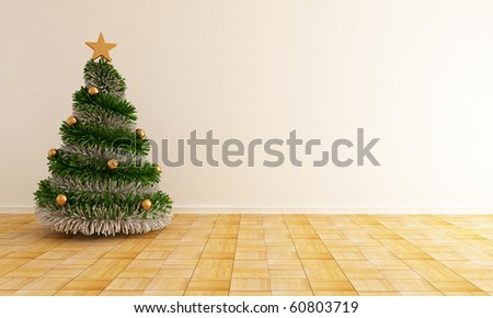 christmas tree with a star in a empty living room - rendering