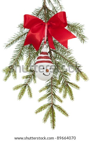 Christmas tree with  Christmas ornament on white background