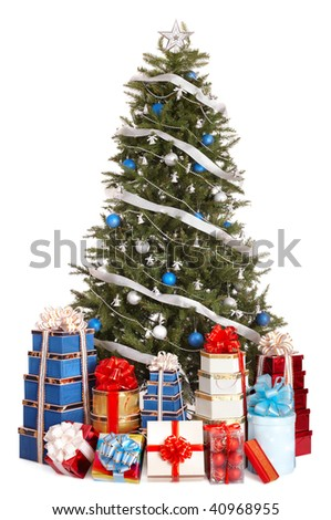 Christmas tree with silver ,blue ball, group gift box.  Isolated.