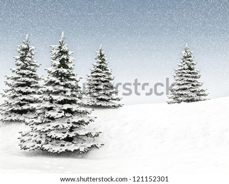 Christmas trees through snow. Blue sky and snowflakes