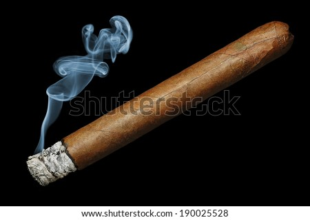 cigar with smoke isolated on black background