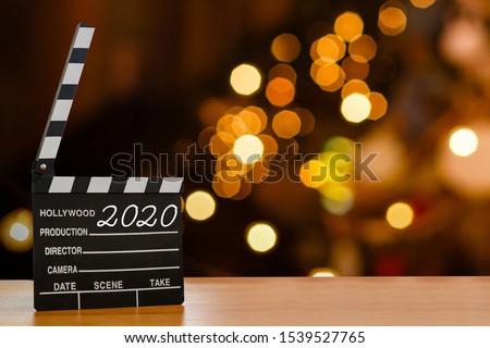 2020 Cinema clapper board on background, copy space