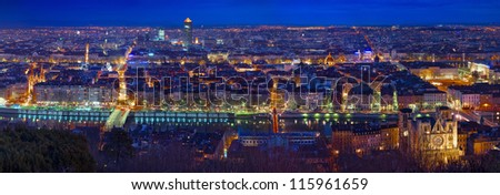 City of Lyon by night