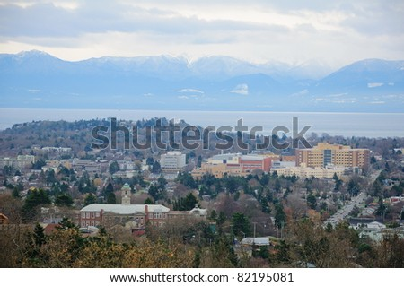 City scene in dusk from mountain, victoria, bc, canada - stock photo