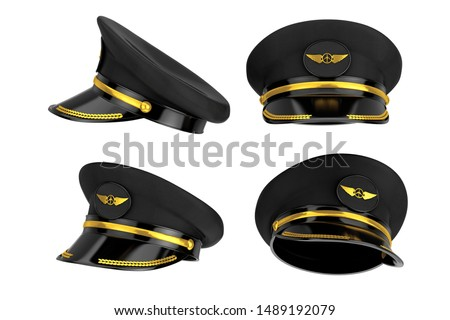 Civil Aviation and Air Transport Airline Pilots Hat or Cap with Gold Aviation Insignia in different position on a white background. 3d Rendering