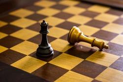 classic retro style wooden chessboard