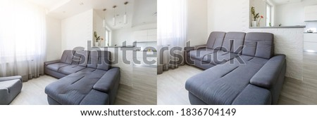 clean and dirty sofa before and after, Cleaning service clean sofa with professional equipment Photo stock ©