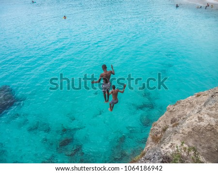 Cliff jumpers    Views around the small Caribbean island of Curacao