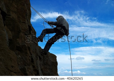climb on a mountain